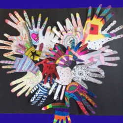 Group members' hand mandalas from a suicide support group